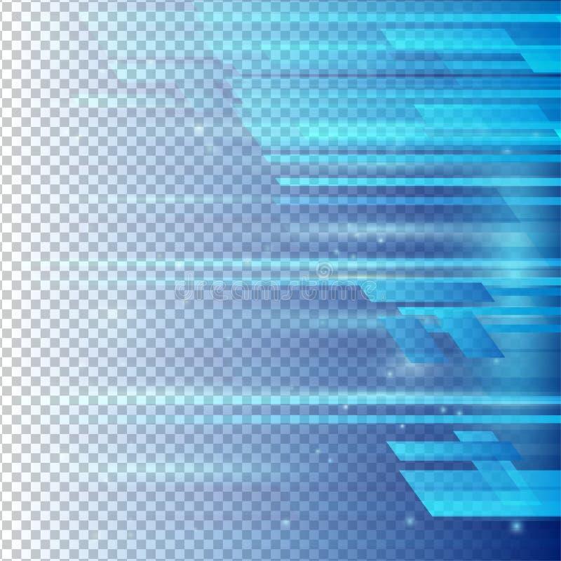 Vector abstracto del color azul geométrico de los elementos con el fondo transparente ilustración del vector