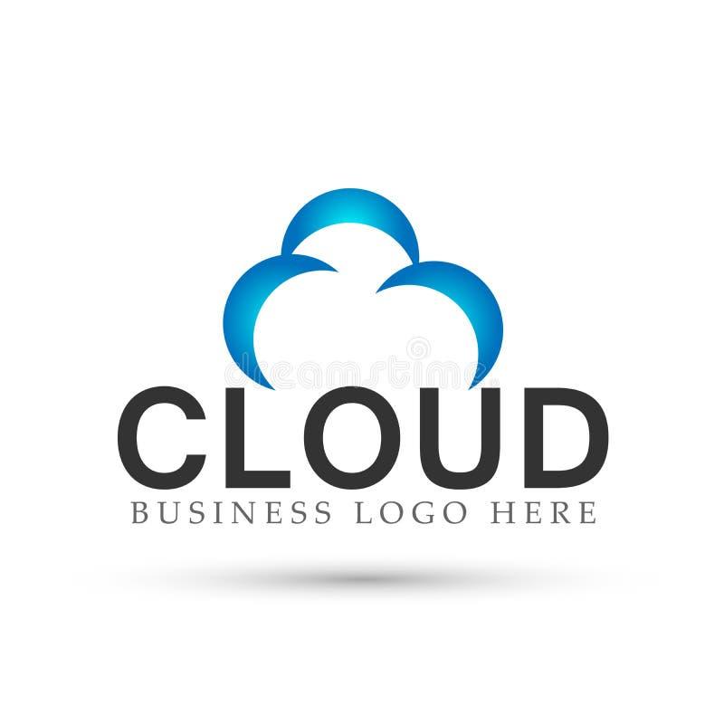 Vector abstracto del diseño del icono del símbolo del concepto del logotipo de la nube en el fondo blanco stock de ilustración