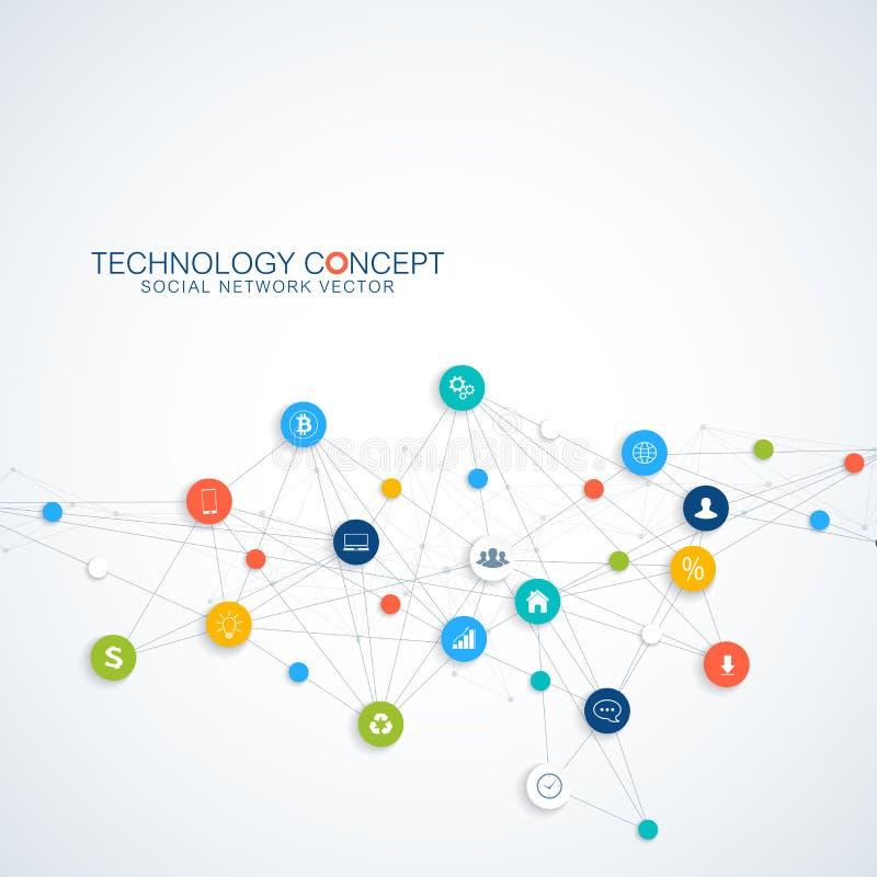 Vector abstracto del negocio infographic Núblese el diseño de concepto de las conexiones de red computacional y global Negocio ci ilustración del vector