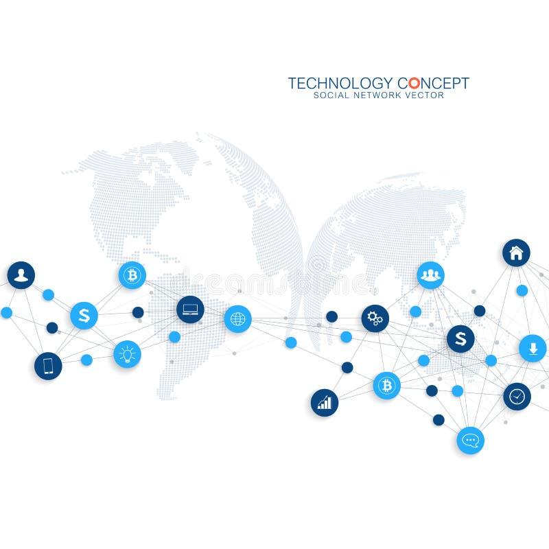 Vector abstracto del negocio infographic Núblese el diseño de concepto de las conexiones de red computacional y global Negocio ci stock de ilustración