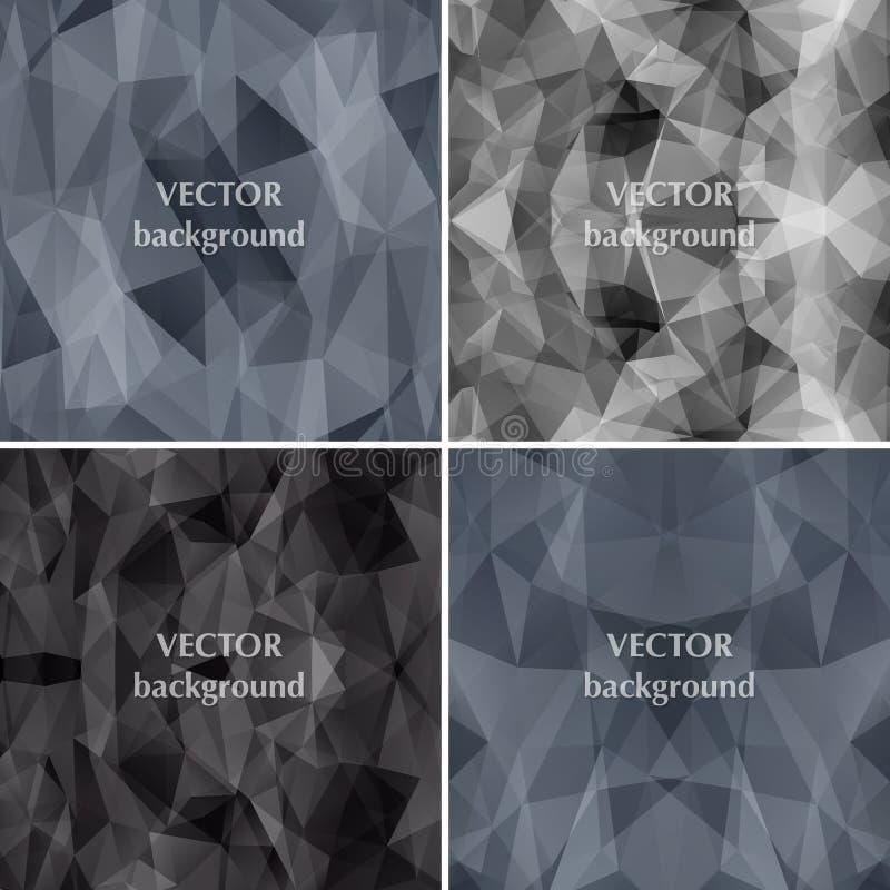 Vector abstracto determinado del triángulo del polígono del fondo negro Moda b stock de ilustración