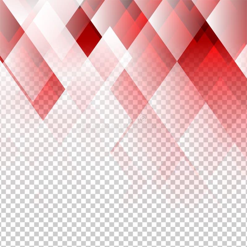 Vector abstracto geométrico del color rojo de los elementos con el fondo transparente stock de ilustración