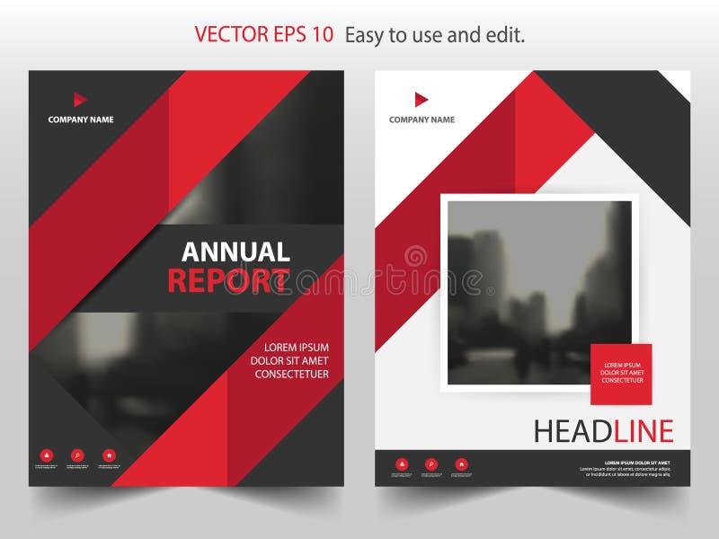 Vector abstracto rojo de la plantilla del diseño del folleto del informe anual del triángulo Cartel infographic de la revista de  libre illustration