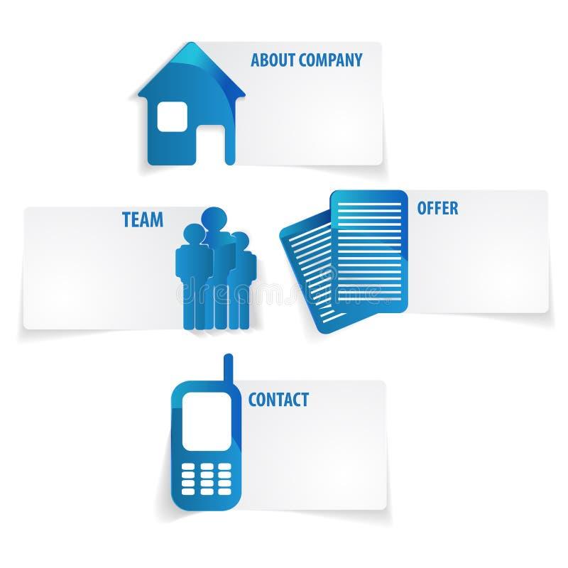Vector abstrakte Firmen-infographic Aufkleber mit blauen Symbolen vektor abbildung