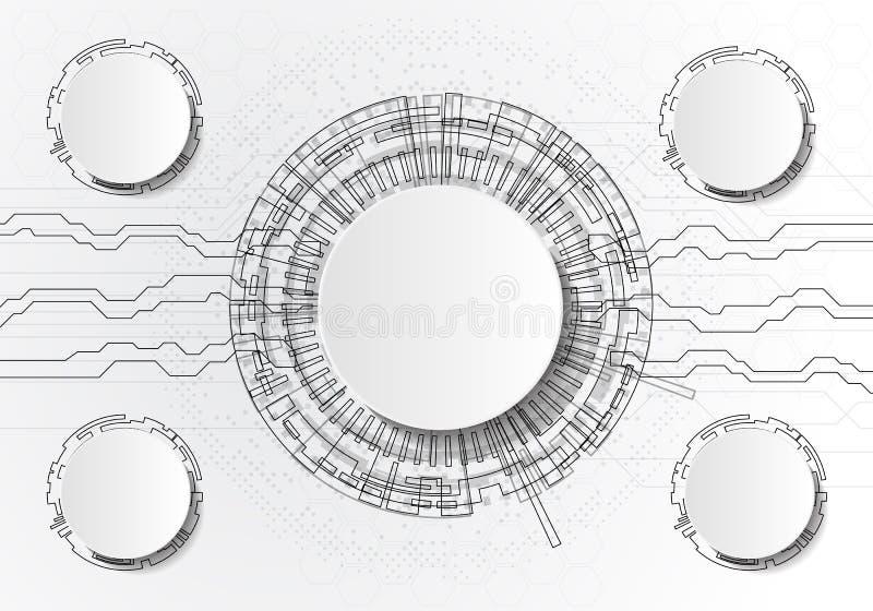 Vector abstrakte futuristische Leiterplatte auf hellgrauem Hintergrund, High-Teches Digitaltechnikkonzept Leerer weißer Kreis des vektor abbildung