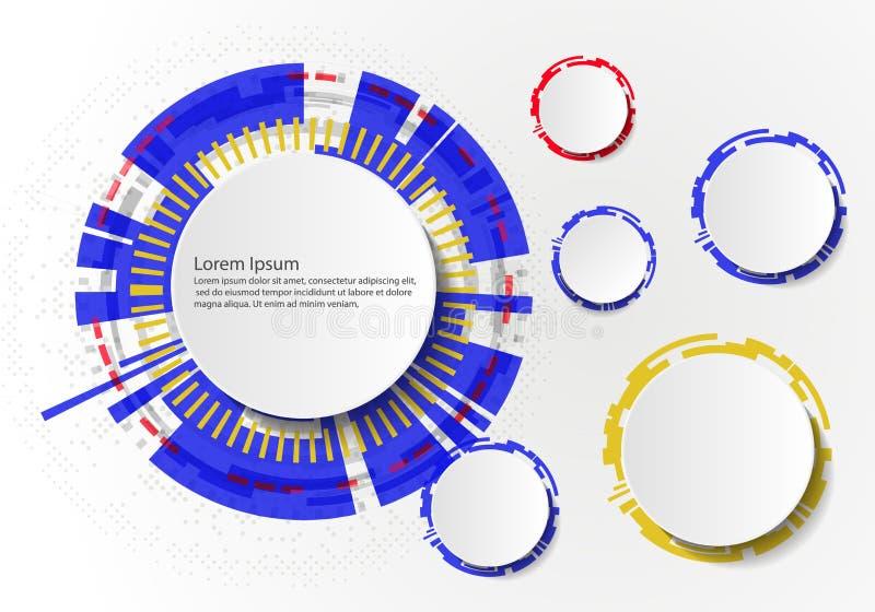 Vector abstrakte futuristische Leiterplatte auf hellgrauem Hintergrund, High-Teches Digitaltechnikkonzept Leerer wei?er Kreis des stock abbildung