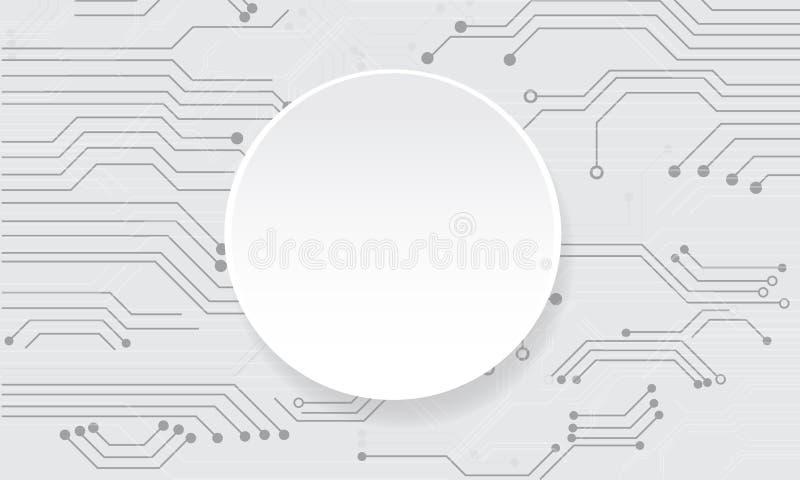 Vector abstrakte futuristische Leiterplatte auf weißem Hintergrund lizenzfreie abbildung