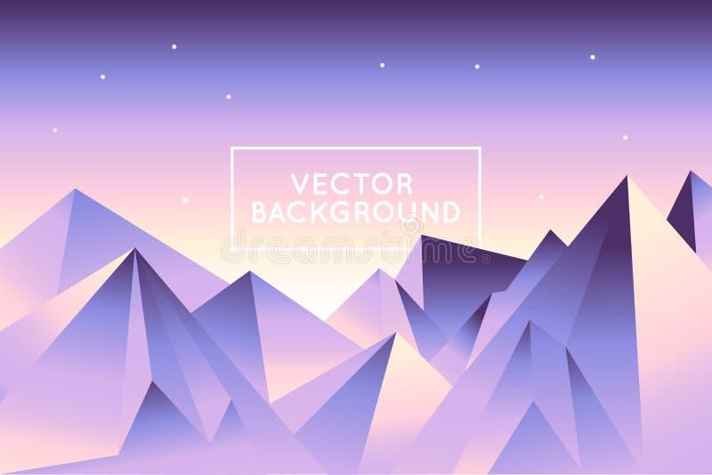 Vector abstrakte Landschaft in der niedrigen Polyart in heller Steigung c stock abbildung