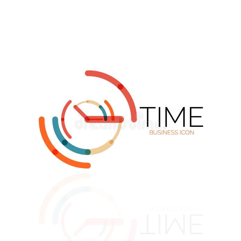 Vector abstrakte Logoidee, Zeitkonzept oder Uhrgeschäftsikone Kreative Firmenzeichendesignschablone stock abbildung