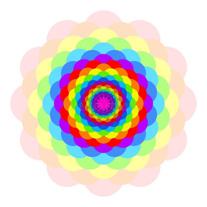 Vector abstrakte Mehrfarbenmandala, die Blume, die auf weißem Hintergrund, Regenbogen farbige Blüte, bunte geheime Blumenblattman lizenzfreie abbildung