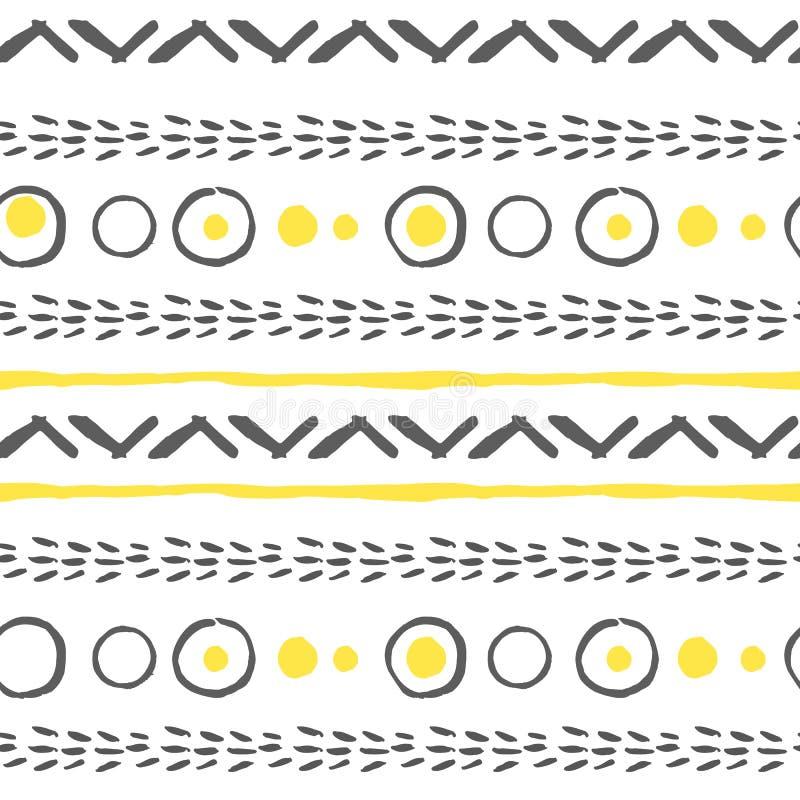 Vector abstrakte nahtlose Muster in Gelbem, im Weiß und im Schwarzen lizenzfreie stockfotos