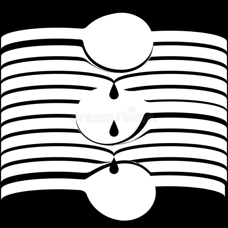 Vector abstrakte optische weiße Linie Formen im schwarzen Hintergrund, der die Löffel formt, die Tropfen tropfen lizenzfreie abbildung