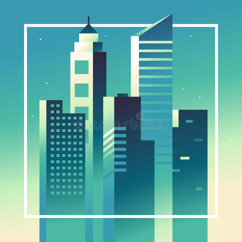 Vector abstrakte Stadtlandschaft in den hellen Steigungsfarben vektor abbildung