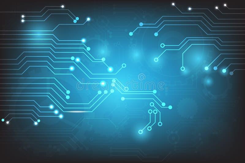 Vector abstrakte Technologie mit Leiterplatteelementen auf blauem Hintergrund vektor abbildung