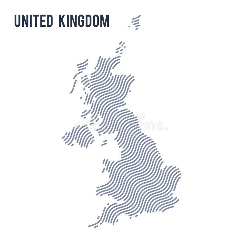 Vector abstrakte Wellenkarte von Vereinigtem Königreich lokalisierte auf einem weißen Hintergrund lizenzfreie abbildung