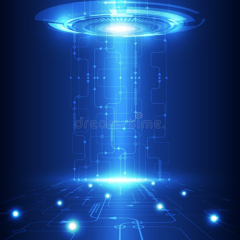 Vector abstrakte zukünftige Technologie, elektrischen Telekommunikationshintergrund stock abbildung