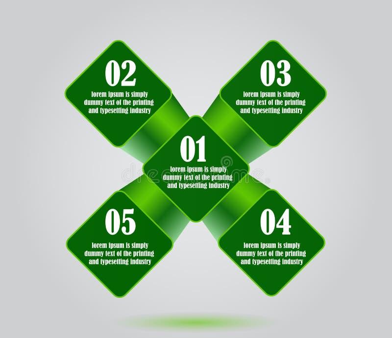 Vector abstrakten Grünquadrathintergrund, das infographic Geschäft vektor abbildung