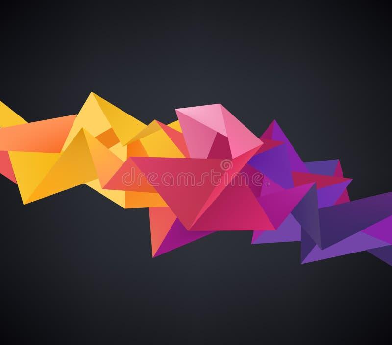 Vector abstrakten Origami-Regenbogenhintergrund des Kristalles 3d facettierten geometrischen vektor abbildung