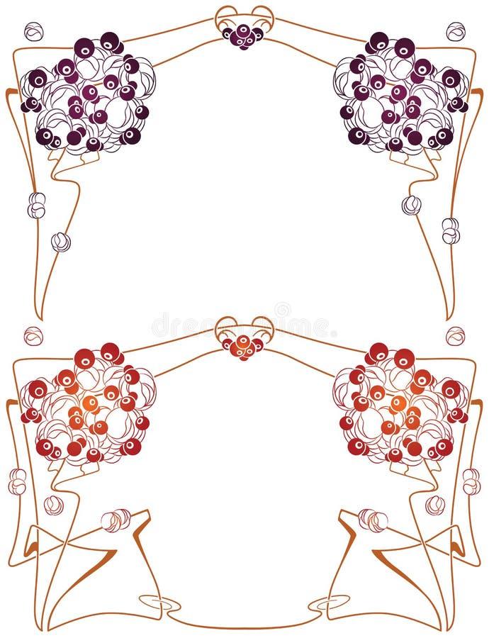 Vector abstrakten Rahmen von den verklemmten Anlagen und von den Blumen vektor abbildung