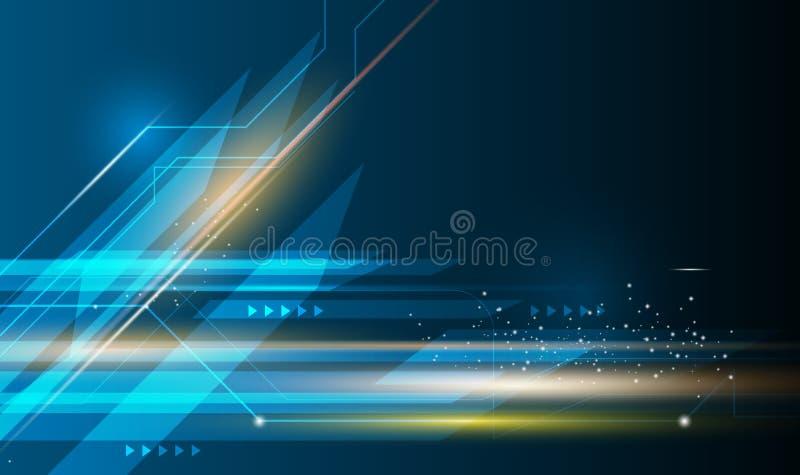 Vector abstraktes futuristisches, Geschwindigkeit und Bewegungsunschärfe über dunkelblauem Hintergrund vektor abbildung