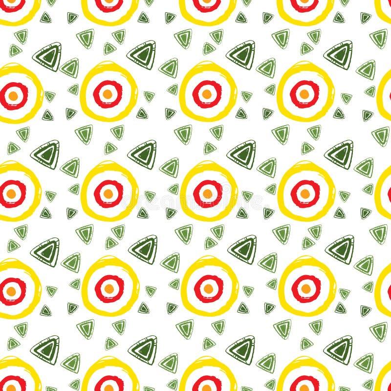 Vector abstraktes Muster für Design, gelbe Kreise, grüne Dreiecke stock abbildung
