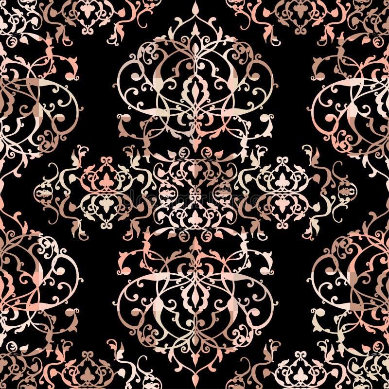 Vector abstraktes nahtloses Patchworkmuster mit den geometrischen und Blumenverzierungen, den stilisierten Blumen, den Punkten, d lizenzfreie abbildung