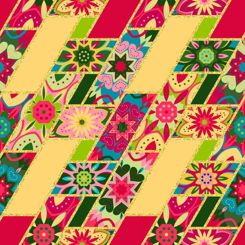 Vector abstraktes nahtloses Patchworkmuster mit geometrischem und Blumenverzierungen, stilisierte Blumen, Punkte schnüren sich we vektor abbildung