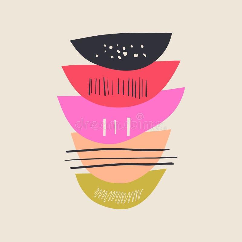Vector abstraktes skandinavisches Plakat, einfaches Formmuster lizenzfreie abbildung