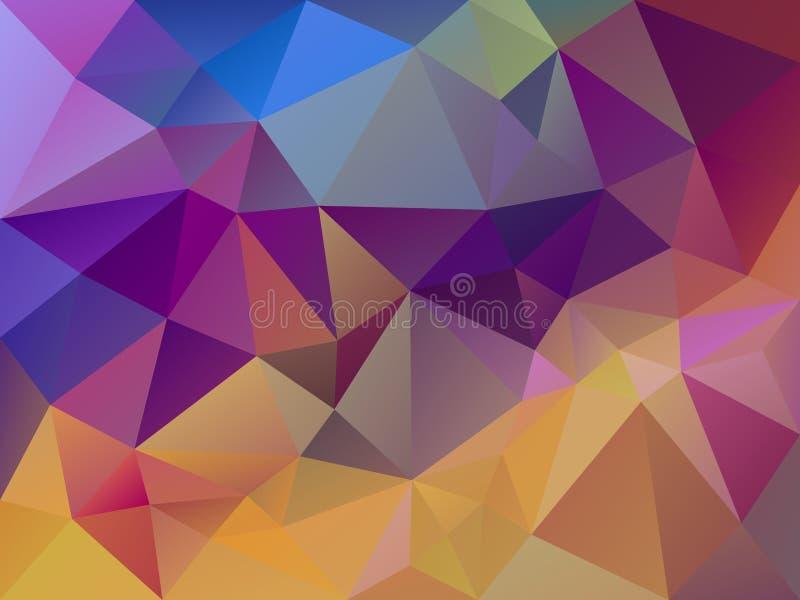 Vector abstraktes unregelmäßiges Polygonhintergrund-Dreieckmuster in der multi Farbe - gelb, rosa, im Purpur und im Blau stock abbildung