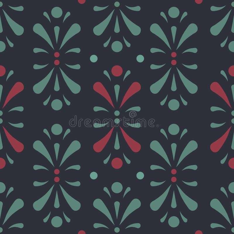 Vector Abtract Floral Design in dark green and red seamless pattern background royalty free illustration