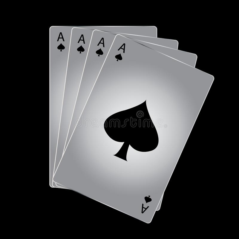 Vector Ace of spades playing card on black background. General illustration royalty free illustration