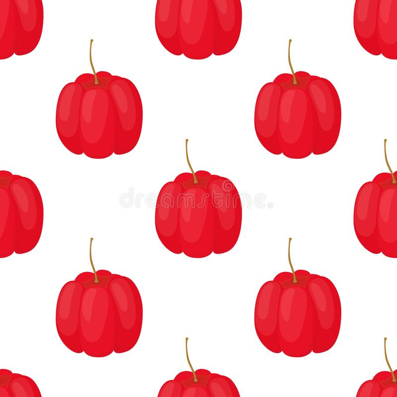 Vector acerola berry seamless pattern. Cherry superfood. Cartoon flat style. Vector acerola berry seamless pattern, Barbados cherry superfood, eco antioxidant royalty free illustration