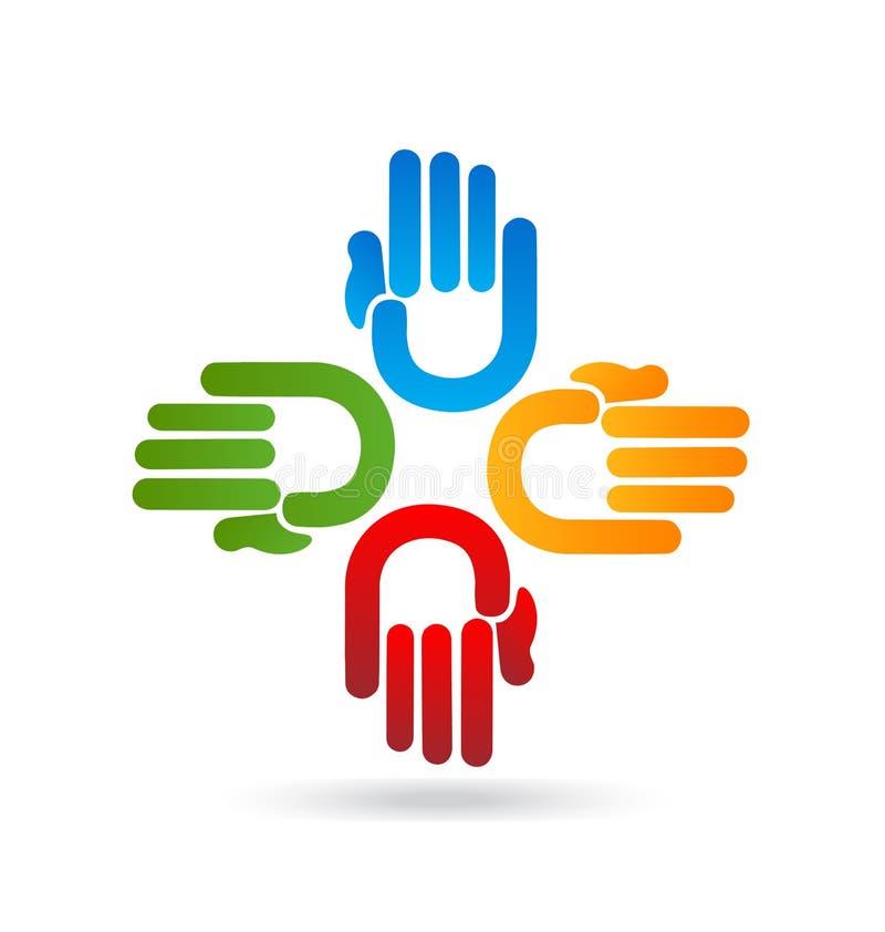 Vector acertado del logotipo de las manos del trabajo en equipo stock de ilustración