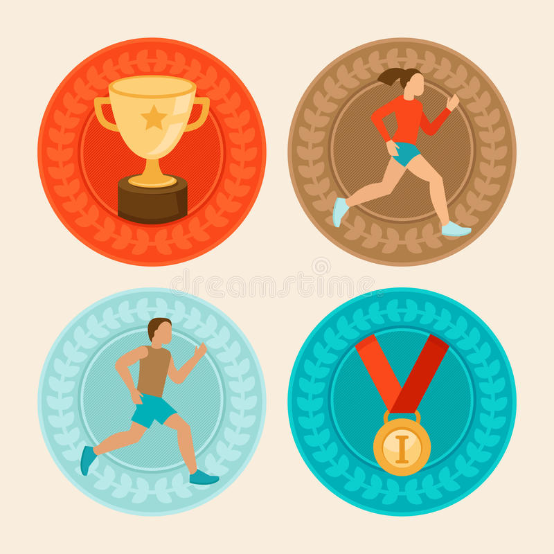 Vector achievement badges in flat style. Marathon icons and signs - female and male runners vector illustration