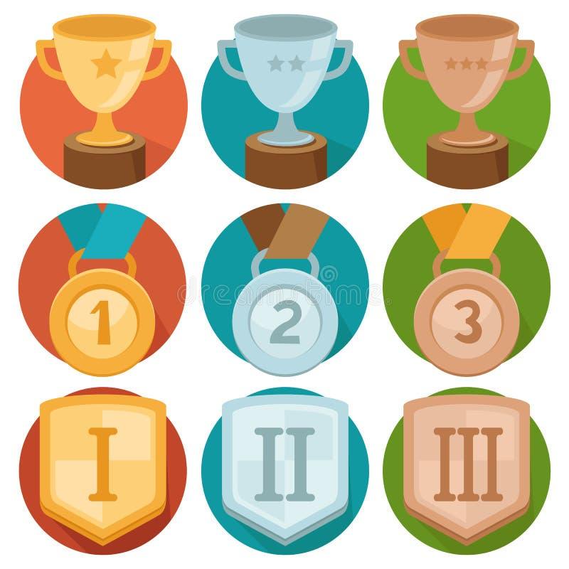 Vector achievement badges - gold, silver, bronze stock illustration