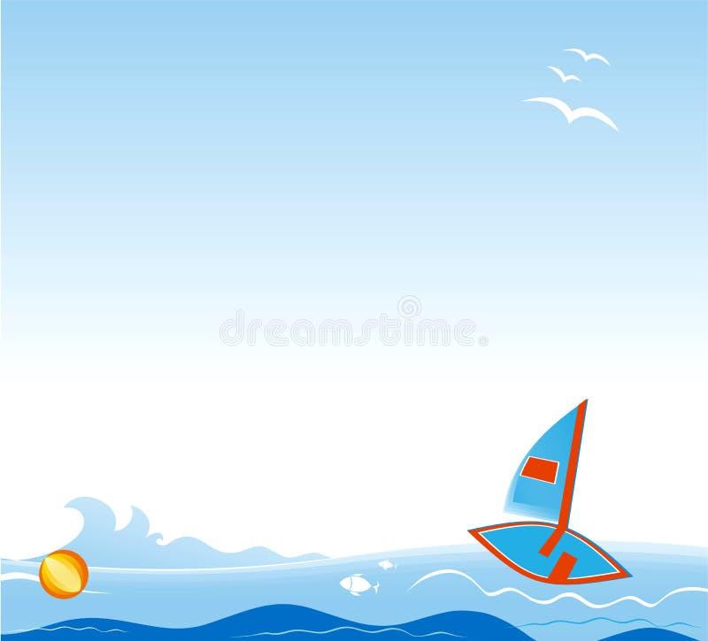 Vector achtergrond met varende boot. vector illustratie
