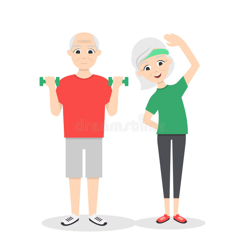 Vector active, happy and healthy senior couple. Cartoon man with green dumbbells and woman doing exercises, on white background. Flat vector style stock illustration