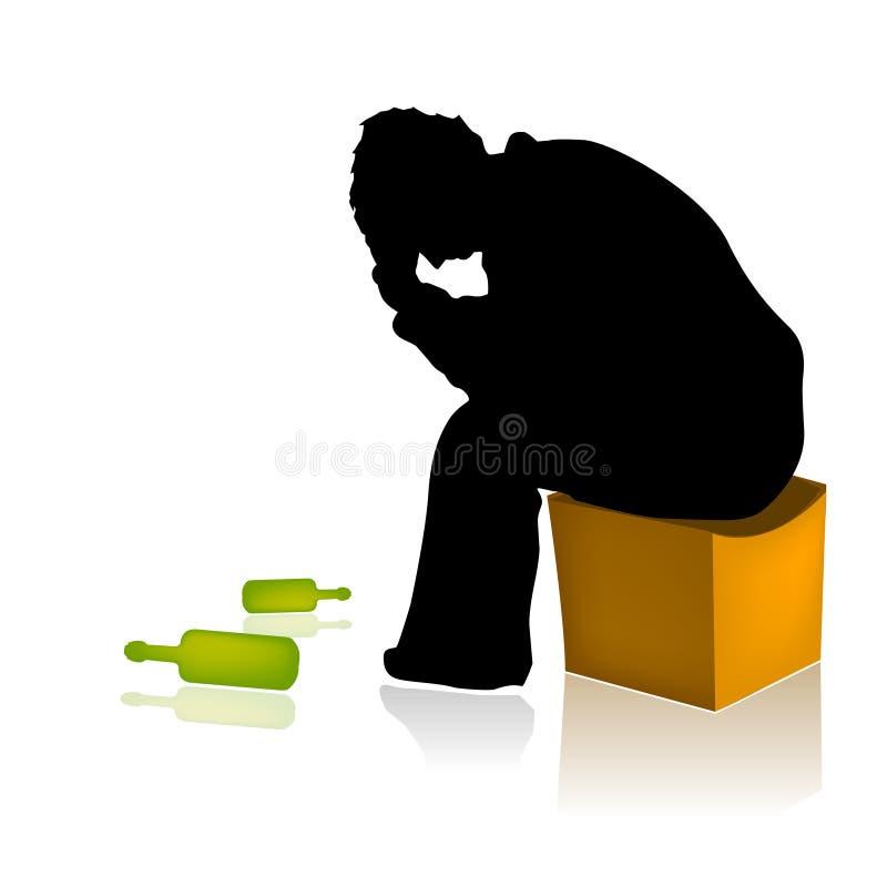 Vector adicto del hombre del abuso de alcohol stock de ilustración