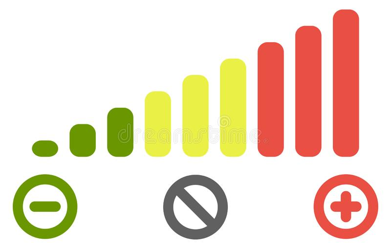 Volume level bars scale icon. Green to red colours, with minus for decrease, plus for increase and crossed circle for mute signs. stock illustration