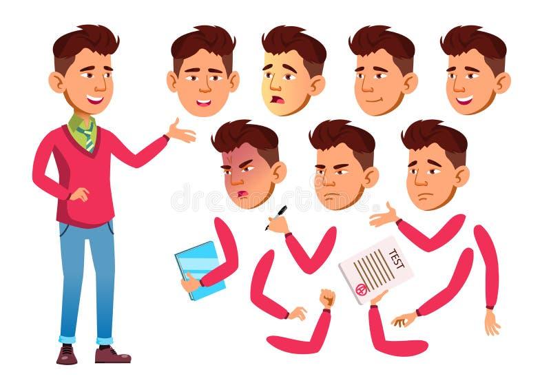 Vector adolescente asiático del muchacho adolescente Gente adulta ocasional Emociones de la cara, diversos gestos Sistema de la c libre illustration