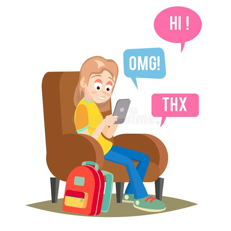 Vector adolescente de la muchacha Muchacha feliz que habla, charlando en red Dispositivos y medios apego social Historieta plana stock de ilustración