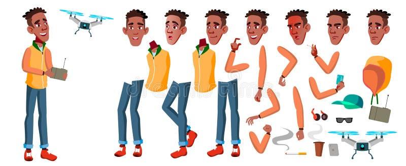 Vector adolescente del muchacho Sistema de la creación de la animación negro Afroamericano Emociones de la cara, gestos Gente adu stock de ilustración