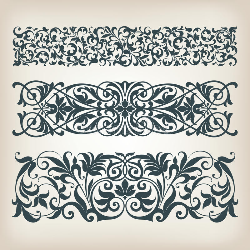 Vector adornado de la caligrafía de la voluta del marco determinado de la frontera del vintage stock de ilustración