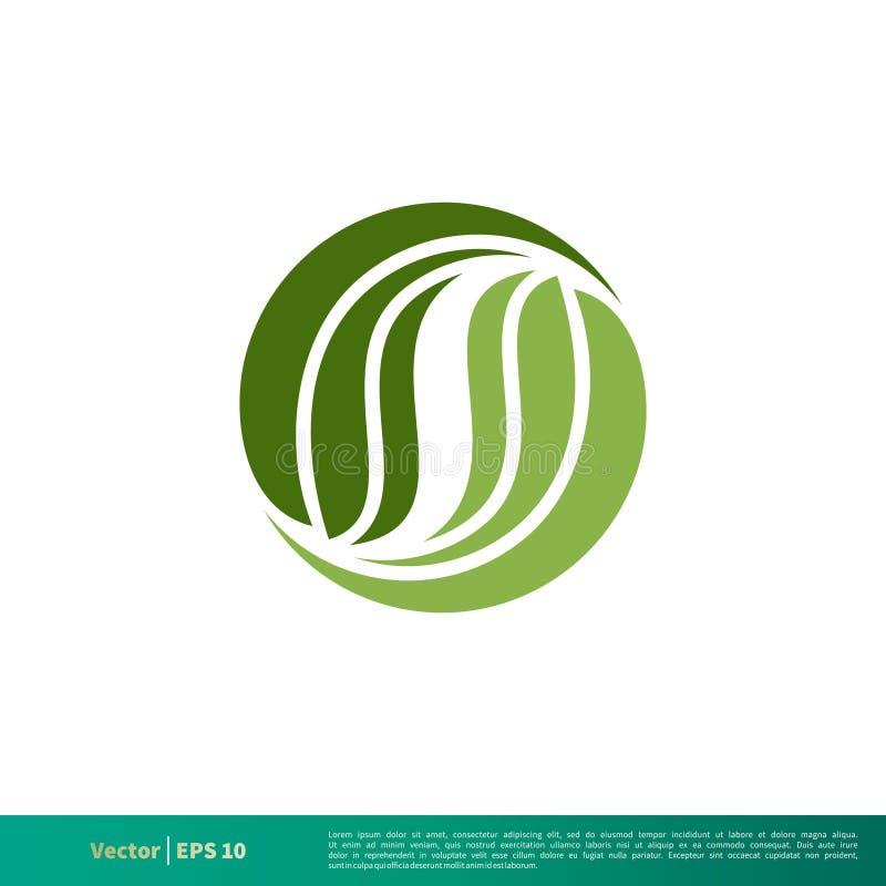 Vector adornado Logo Template Illustration Design del icono de la hoja verde natural Vector EPS 10 stock de ilustración