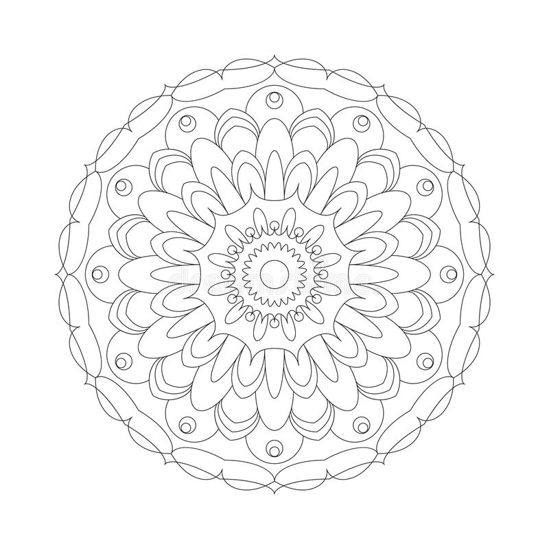 Vector adult coloring book circular pattern mandala abstract flower black and white - floral background stock illustration