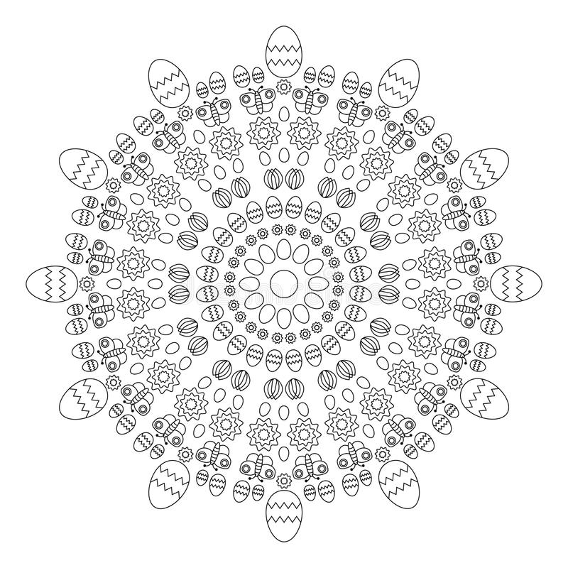 Vector adult coloring book circular pattern mandala spring easter black and white - background with eggs stock illustration