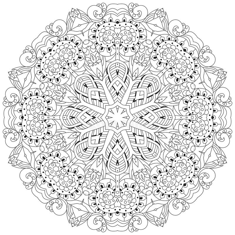 Hand drawn zentangle mandala for coloring page royalty free illustration