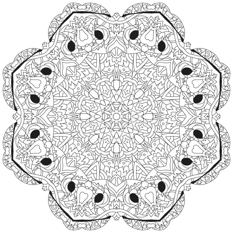 Hand drawn zentangle mandala for coloring page stock illustration