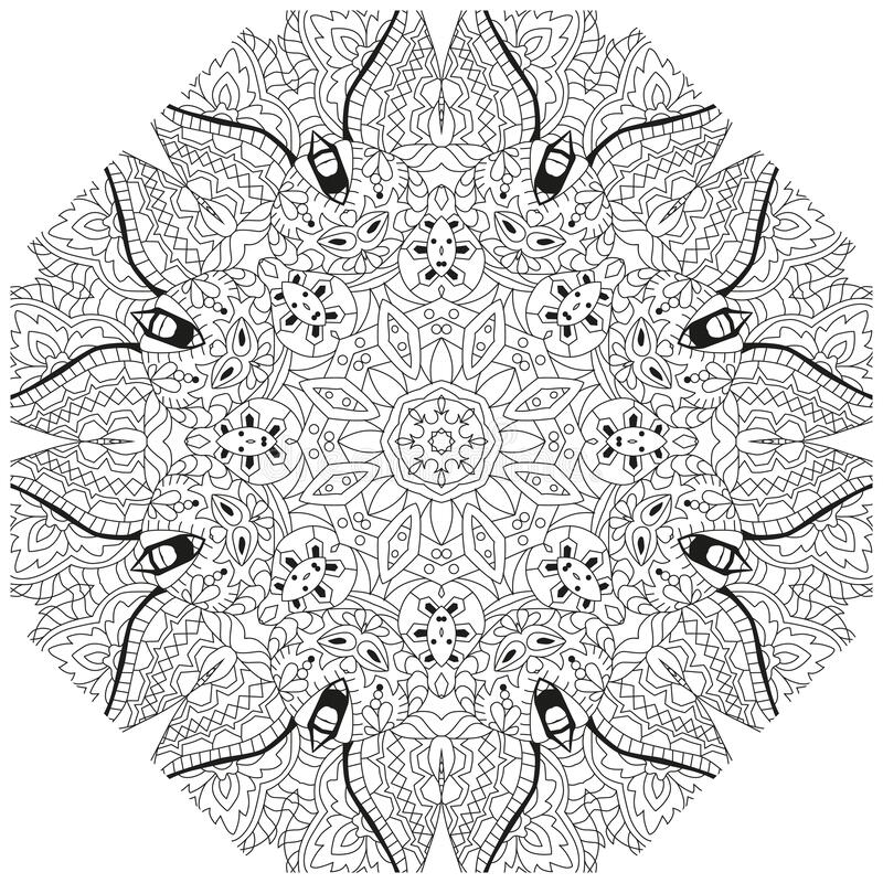 Hand drawn zentangle mandala for coloring page vector illustration