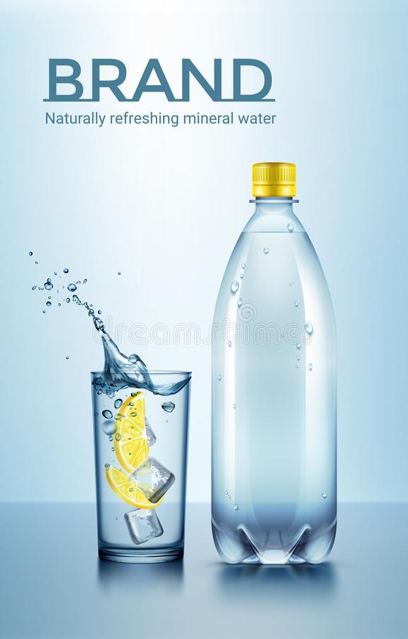 Vector advertisement illustration of bottle and glass of water with ice and sliced lemon. Tasty and fresh drink with space for text on blue background royalty free illustration